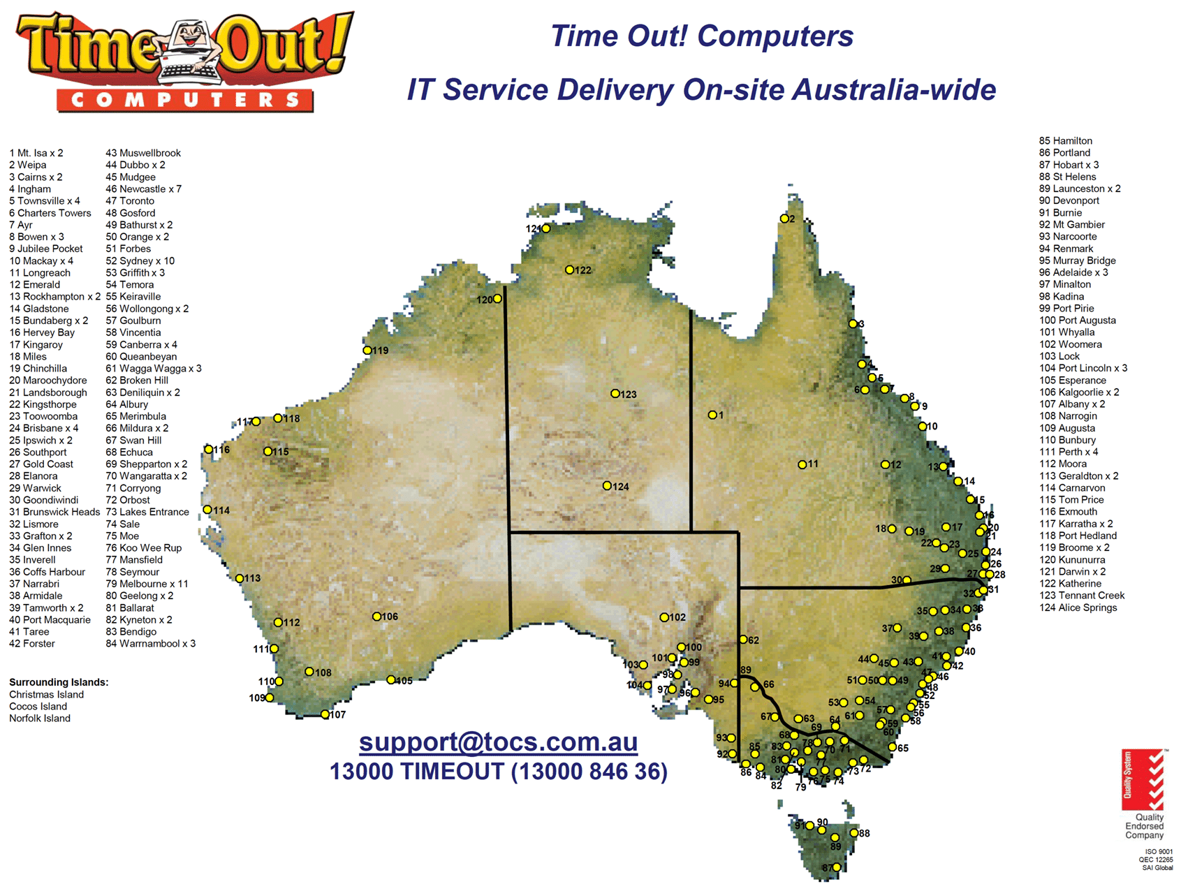 Australian Service Coverage Areas - Time Out! Computers