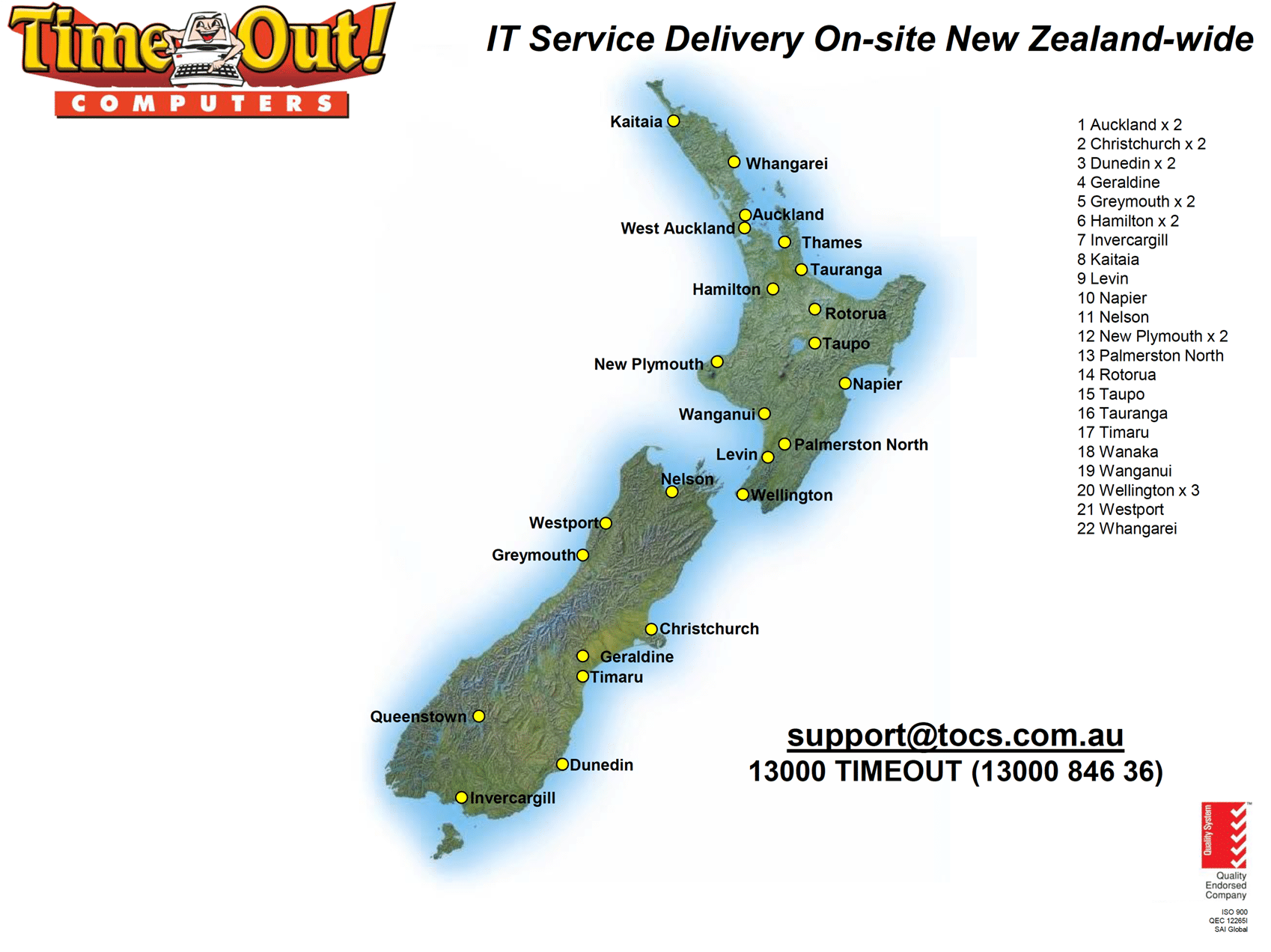 New Zealand Service Coverage Areas - Time Out! Computers